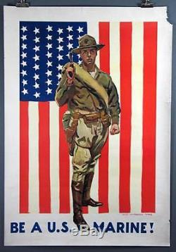 James Montgomery Flagg, BE A U. S. MARINE! Vintage WWI Poster 1918