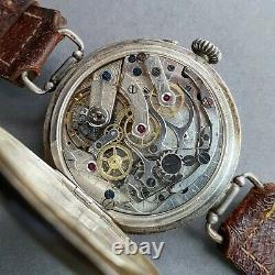 Lemania ris WW1 trench chronograph pilot watch aviation monopusher wristwatch