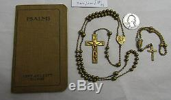 Lot Of 2 Antique Military Rosaries Ww1 Tiny Brass Pull Chain Pocket Rosary