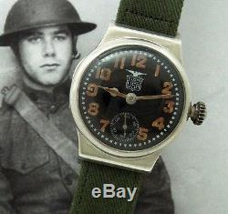 Men's Historic WWI Elgin Trench Watch with Silver Hinged Case Black Dial SERVICED