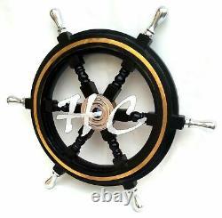 Nautical Wooden Ship Steering Wheel Pirate Decor 18 Brass Fishing Wall Boat