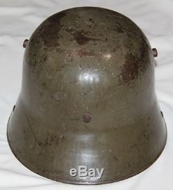 ORIGINAL WWI GERMAN NAMED M17 COMBAT HELMET With GOOD PAINT, PARTIAL LINER