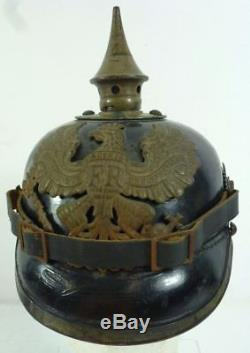 ORIGINAL WWI WWI Prussian Model 1915 EM/NCO Pickelhaube Helmet GERMAN (a)