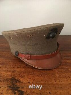 Old Antique Vtg WWI 1912 Mle USMC US Army Marine Corps Bell Crown Cap Hat Rare