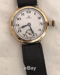 Omega Vintage Solid Gold Mens Gents 9 ct Carat K Trench watch Ww1 27.9 cal ALD