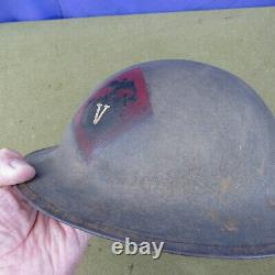 Orig WWI US M1917 USMC Doughboy 5th Brigade Painted Helmet withLiner & Chinstrap