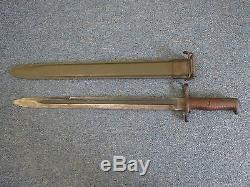 Original 1903 Springfield Bayonet & Scabbard WW1 / WW2 1920