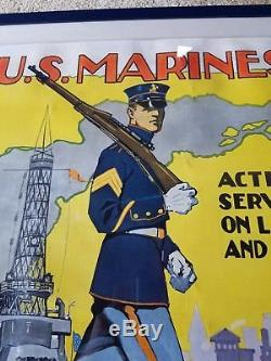 Original! 1917 Wwi Us Marines Large Poster! Linenbacked Colorful Reisenberg