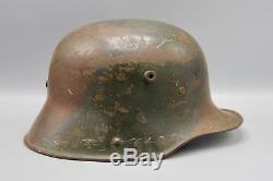 Original German WWI Named M17 Steel Turtle Camo Helmet WW1 Bringback
