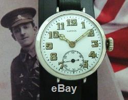 Original Men's WWI Era Sterling Silver Patria Presentation Trench Watch-SERVICED