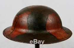 Original & Named Wwi Camouflage Painted Us M1917 Helmet Shell No Reserve