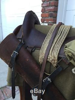 Original Span Am Ww1 Us Army Cavalry Saddle Kit Named And