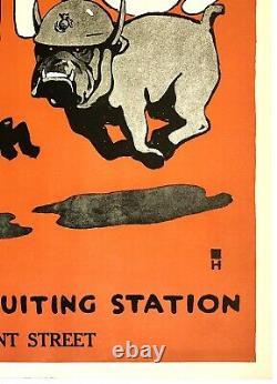 Original Vintage Poster TEUFEL HUNDEN GERMAN FOR U. S. MARINES World War WWI OL
