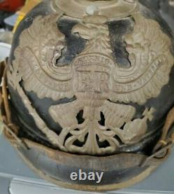 Original WW1 German Leather Prussian Pickelhaube Spike Helmet M1915 WWI