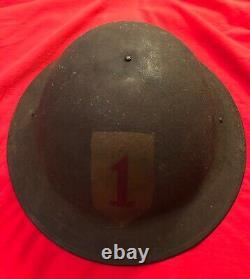 Original WWI 1917 Doughboy Big Red 1 Helmet
