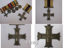 Original WWI Silver Full Size Military Cross Gallantry Medal with Miniatures