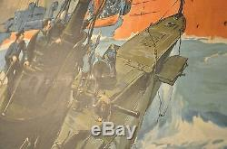 Original WWI They Kept The Sea Lanes Open Victory Liberty Loan Poster Linen #1