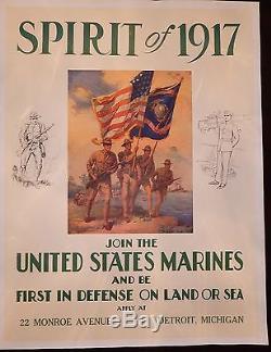 Original WWI USMC Recruiting Poster Spirit of 1917 Linen Mint Detroit Michigan
