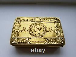 Original Ww1 Princess Mary Brass Christmas Tin With Contents, Great Condition