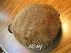 Original complete German WW1 Camo Helmet, Named. With Belt Buckle & Canteen