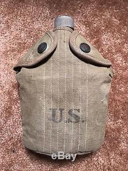 Pre-WW1 US Army Model 1910 Rimmed Eagle Snap Canteen Cover With'18 Canteen & Cup