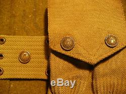 Pre-WWI Mills US Army Officer's Rimmed Eagle Pistol Belt &1911 Magazine Pouch