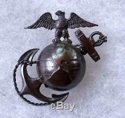 Pre-WWI USMC Marine P1912 Officer EGA Pin Badge D. Snyder Collection