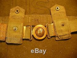 Pre-WWI US Army M-1910 (H) Garrison Belt & 2 Rimmed Eagle Snaps 03 Rifle Pockets