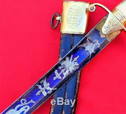 Pre Ww1 British Army 1796 Cavalry Blue & Gilt Etched Officers Sword & Scabbard