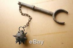 RARE WW1 German Trench Fighting Flail spiked Ball chain mace Morgenstern antique