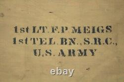RARE WW1 US Army Rain Poncho Named To a 1st LT Miegs/1st Telephone Battalion