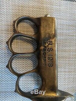 Rare Antique Original WWI Military Trench Knife mark US 1918 With Original Case