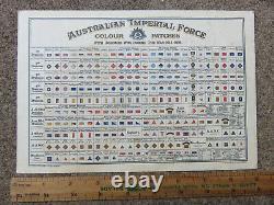Rare Original Australian Aif Ww1 Colour Patch Honours Chart Light Horse Etc