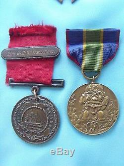 Rare Original Usn Medals Numbered Grouping Campaign Engraved Good Conduct Ny Ww1