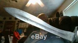 Rare Pre Ww1 Wwi Spanish 1907 Artillery Bolo Short Sword With Leather Scabbard