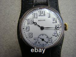 Rare WW1 1916 military Rolex Silver Trench watch W&D case Extra big size 35 mm