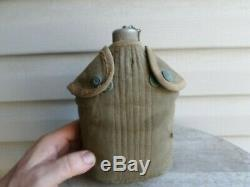 Rare WWI USMC Marine Corps Eagle Snap Canteen and Cover WW1. Antique, Vintage