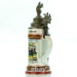 Regimental Lithophane Beer Stein 1897-99 Antique German Porcelain Military WWI
