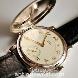 Rolex Precision full hunter antique WW1 trench mens watch vintage solid silver