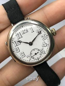 Rolex WWI Officers Trench Watch Sterling Silver, Large Dial, SERVICED