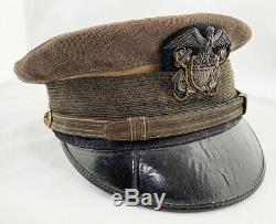SUPERB and RARE WW1 US Navy Pilot Naval Aviator Green Visor Hat