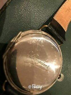 Silver 1914 Longines WW1 Officers Black Dial Trench Watch
