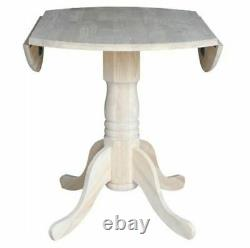 Small Dining Table Unfinished Wood Farmhouse Kitchen Rustic Round Pedestal Chic