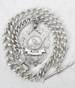 Solid Silver Pocket watch Albert Chain! WW1 Unusual Footbal Fob Medal. 1913