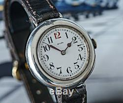 Stunning Large Silver 1907 Longines 13.33 WW1 Trench Watch Signed by Henry Birks