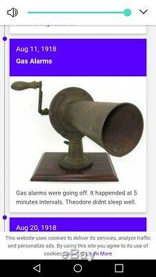 USA Army World War 1 Poison Gas Warning Horn Extremely RARE Collectors Museum
