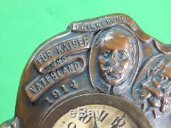 US German Germany WW1 WWI Greenduck Co. Chicago Bronze Military Frame & Clock
