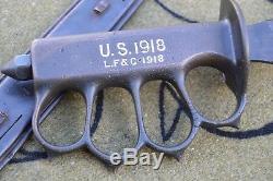 U. S. WW1 WW2 L. F. &C. Fighting trench knife dagger w metal scabbard Landers NICE