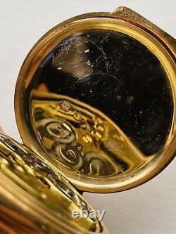 Ultra Rare Birch and Gaydon 9ct gold Zenith Alarm Pocket Watch Black Dial ww1