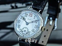 Uncomplicated and Beautiful 1915 W&D Signed Rolex Unicorn WW1 Trench Watch